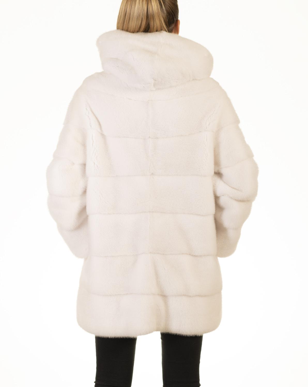 Giacca Visone Bianco con Cappuccio