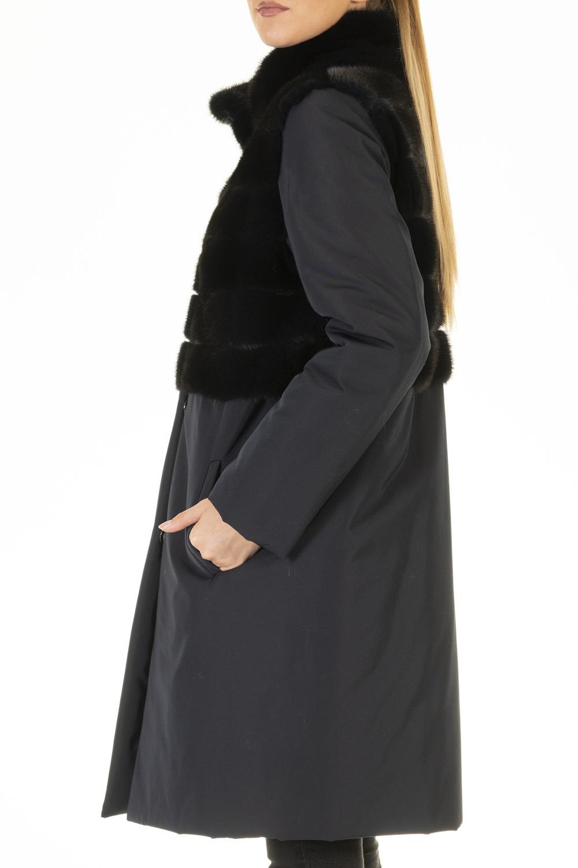 Cappotto tessuto e visone pearl blue
